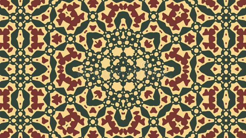 Arabisch ornament - groene, donkerrode tracery, gele achtergrond stock illustratie