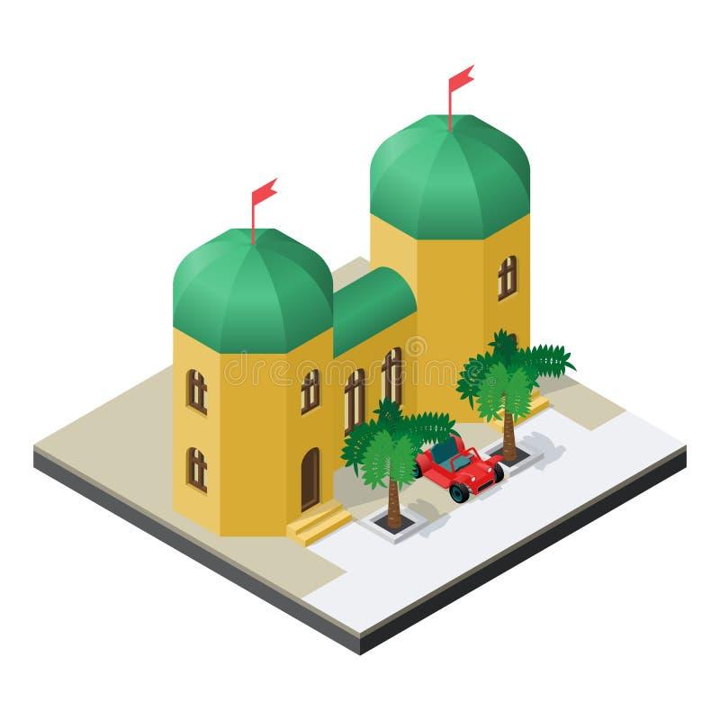 Arabisch paleis met auto en palmen in isometrische mening stock illustratie