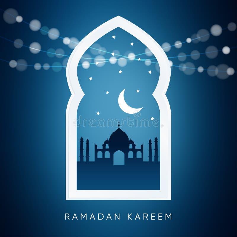 Arabisch venster met, silhouet van de moskee, maan Ramadankaart