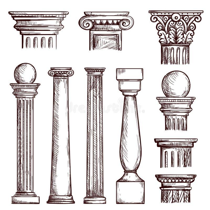 Arabische architectuur gegraveerde kolommen stock illustratie