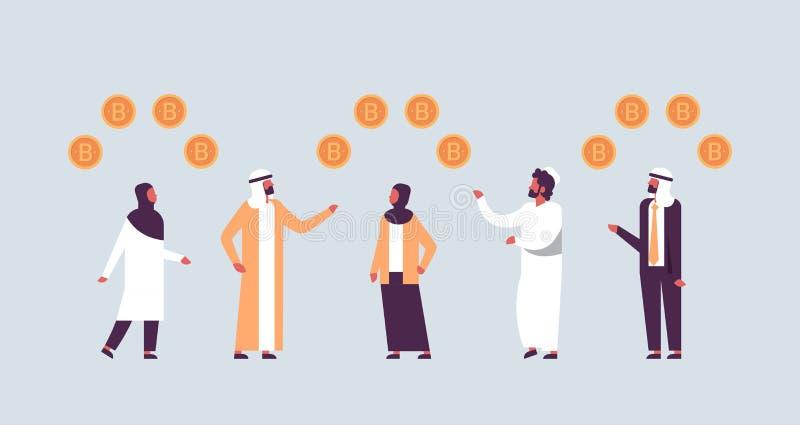Arabische bedrijfsmensen die bitcoin crypto de man van het muntconcept het Arabische vlak ontginnen horizontale karakter van het  royalty-vrije illustratie