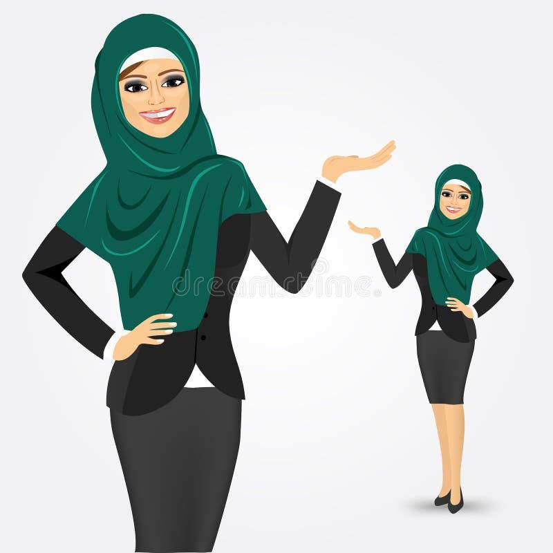 Arabische bedrijfsvrouw die iets tonen royalty-vrije illustratie