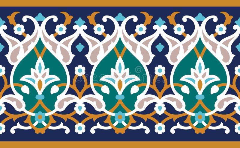 Arabische bloemen kleurrijke naadloze grens vector illustratie