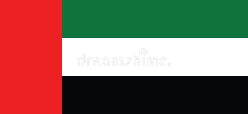 Arabische Emirate-Flagge, offizielle Farben und Anteil richtig Nationaler vereinigter Araber Emiratesflag stock abbildung