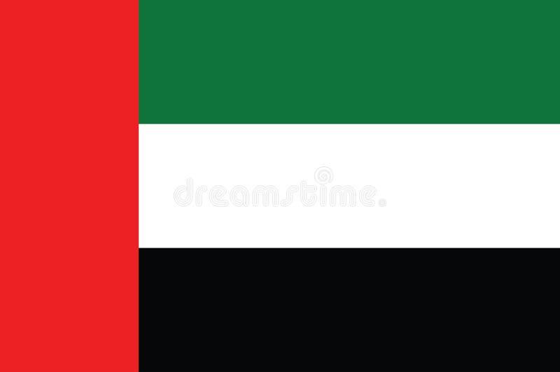 Arabische Emirate-Flagge, offizielle Farben und Anteil richtig Nationaler vereinigter Araber Emiratesflag Auch im corel abgehoben stock abbildung