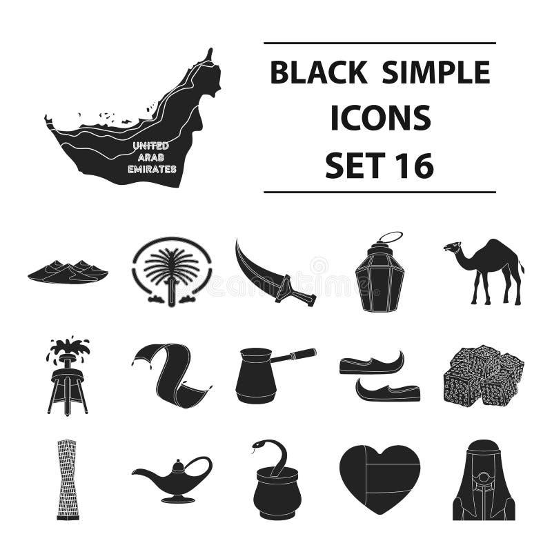 Arabische Emiraten geplaatst pictogrammen in zwarte stijl Grote inzameling van de Arabische illustratie van de het symboolvoorraa vector illustratie