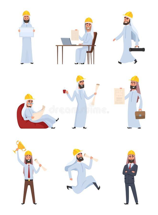 Arabische Erbauer Die eingestellten Charaktere lokalisieren auf weißem Hintergrund stock abbildung