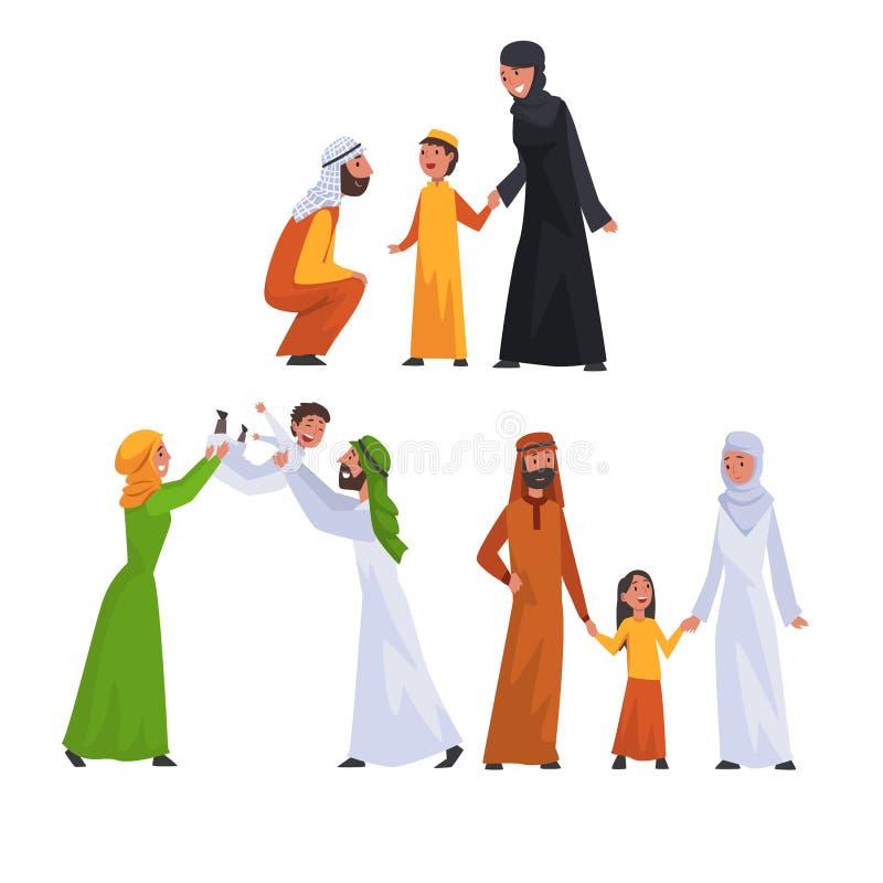 Arabische Familien im traditionellen Kleidungs-Satz, glückliche moslemische Eltern mit ihrer Kindervektor-Illustration vektor abbildung
