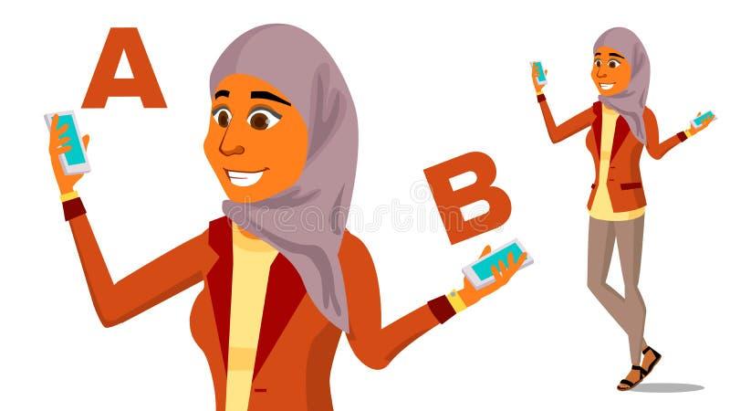 Arabische Frau, die A mit b-Vektor vergleicht Gute Idee Tragen einer Balance Blogger-Bericht Vergleichen Sie und wählen Sie Lokal vektor abbildung