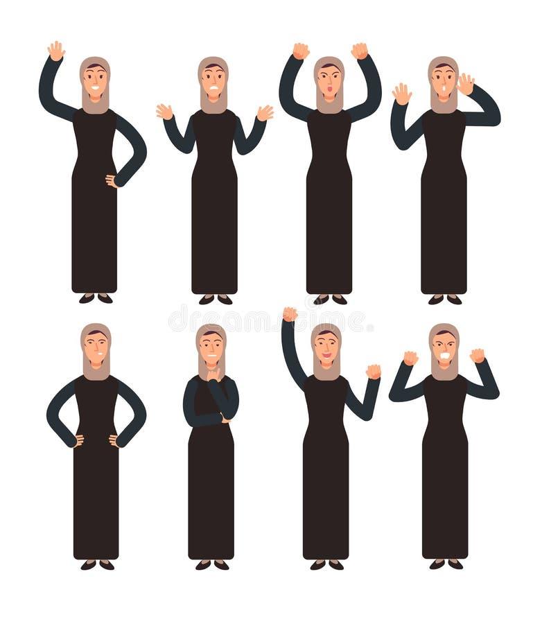 Arabische Frau, die mit verschiedenen Handzeichen und Gesichtsgefühlen steht Weibliche moslemische Vektorcharaktere eingestellt lizenzfreie abbildung