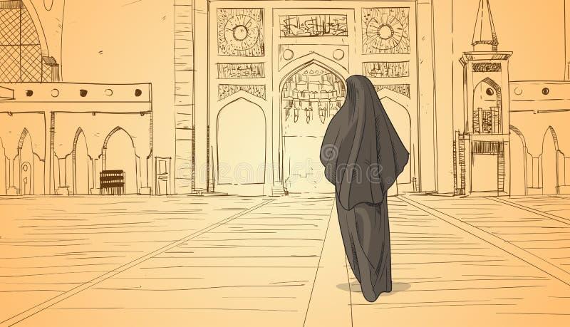 Arabische Frau, die zur Moscheen-Gebäude-moslemischen Religion Ramadan Kareem Holy Month kommt lizenzfreie abbildung