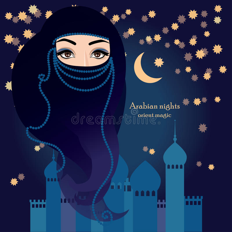 Arabische Frau im moslemischen Schleier - hijab auf einem sternenklaren Hintergrund stock abbildung