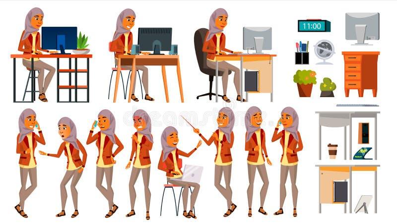 Arabische Frauen-gesetzter Büroangestellt-Vektor Frau Hijab Ghutra Araber, Moslem haltungen Gesichts-Gefühle, verschiedene Gesten stock abbildung