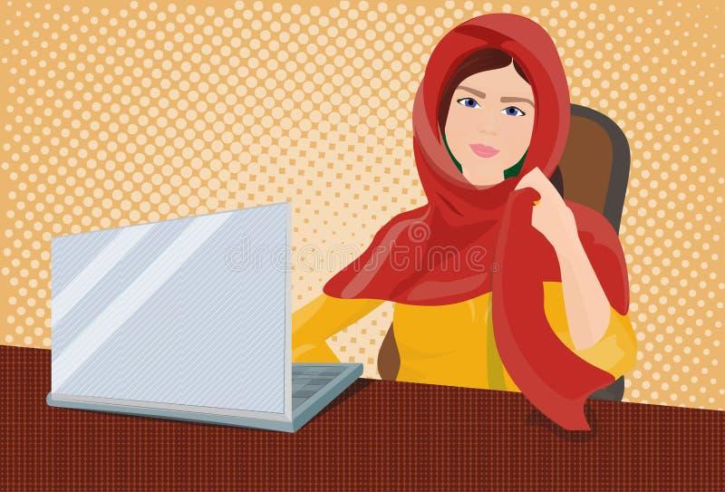 Arabische Geschäftsfrau in der traditionellen Kleidung, die an der Laptop-Computer über Retro- komischem Hintergrund arbeitet lizenzfreie abbildung