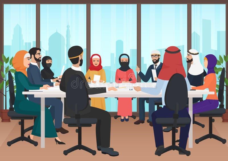 Arabische Geschäftsleute, die modernen Schreibtisch treffend sich besprechen Karikatur-Vektor Illustration der moslemischen Konfe vektor abbildung