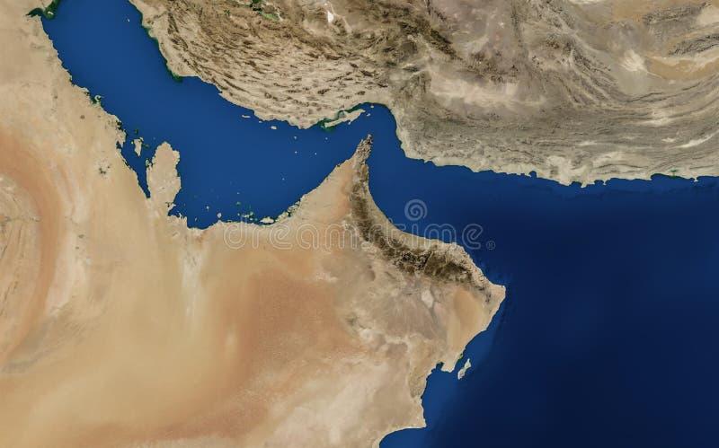 Arabische golfkaart, de V.A.E, Oman, Iran, Qatar, bahrian, Perzische golf stock foto's