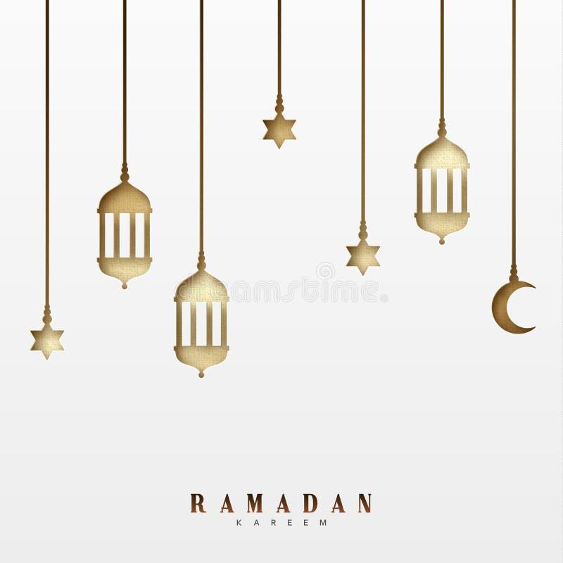 Arabische lantaarns of lampen, het hangen een halve maand en een ster Ramadan Kareem-de kaartontwerp van de vakantiegroet