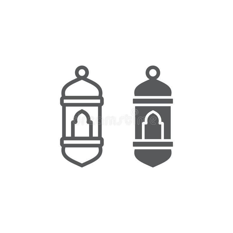 Arabische Laternenlinie und Glyphikone, hell und moslemisch, Lampenzeichen, Vektorgrafik, ein lineares Muster auf einem weißen Hi stock abbildung