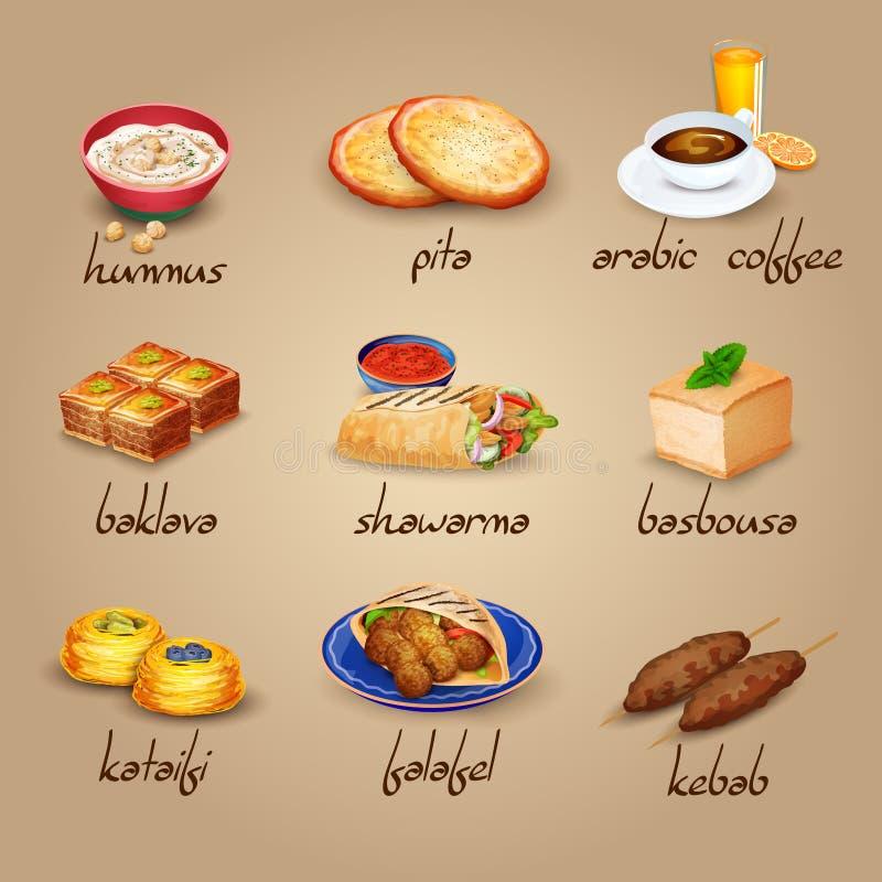 Arabische Lebensmittel-Ikonen eingestellt stock abbildung