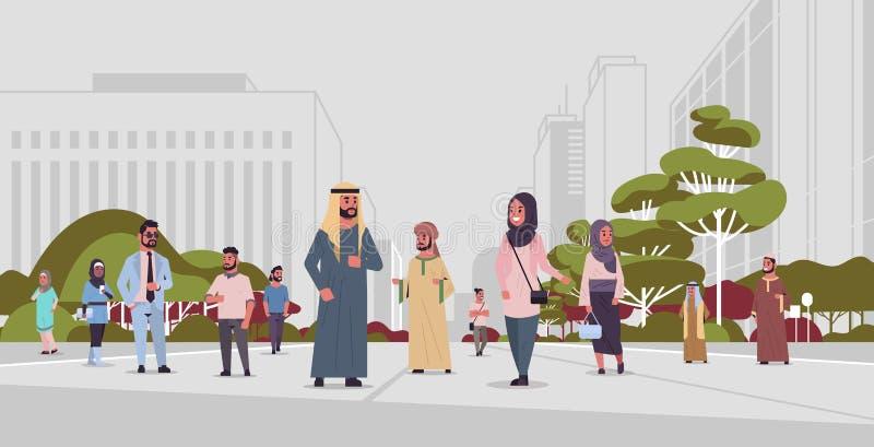 Arabische Leute, die im Freien Araber Geschäftsleute mit traditionellen Kleidung arabischen Cartoon Figuren, die Spaß haben vektor abbildung