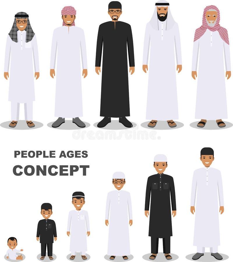 Arabische Leutegenerationen am unterschiedlichen Alter lokalisiert auf weißem Hintergrund in der flachen Art Arabisches Mannalter stock abbildung