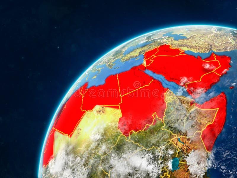 Arabische Liga auf Erde mit Grenzen lizenzfreie stockfotografie