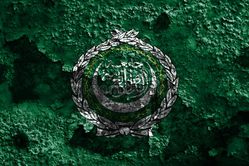 Arabische Liga grunge vlag, regionale organisatie van Arabische staten vector illustratie