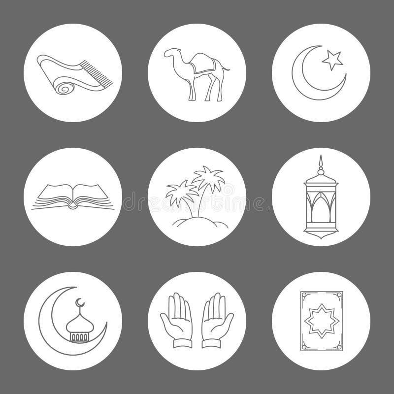 Arabische lineare Ikonen eingestellt lizenzfreie abbildung