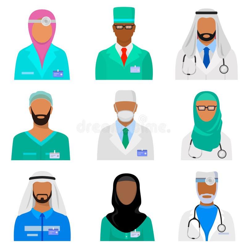 Arabische medische personeelsreeks royalty-vrije illustratie