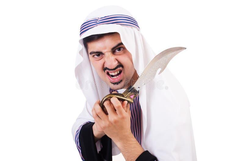 Arabische mens met mes stock foto's