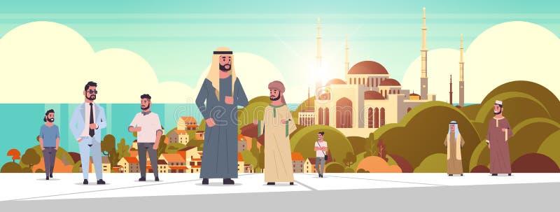Arabische Menschen, die im Freien arabische Männer mit traditionellen Kleidung tragen, tragen Cartoons über Nabawi-Moschee vektor abbildung