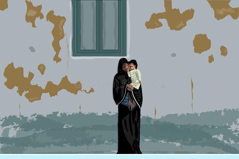 Arabische moeder in zwarte abaya en hijab met weinig baby in haar handen onder sjofele muur, Egypte stock illustratie