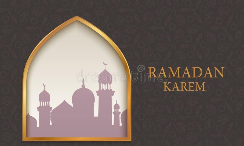 Arabische moskee op donkere achtergrond stock illustratie