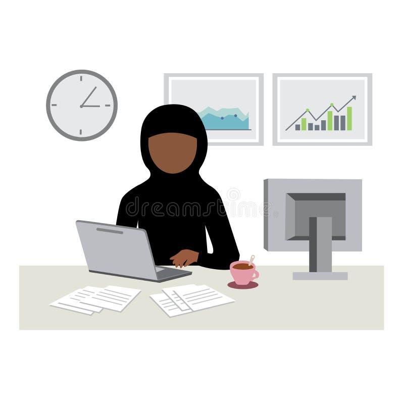 Arabische moslemische Frau, die im Laptop im Büro arbeitet lizenzfreie abbildung