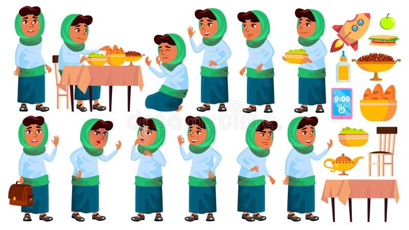 Arabische, moslemische Mädchen-Schule, Mädchen-Kind wirft gesetzten Vektor auf Schüler der Grundschule Das Unterrichten, erziehen vektor abbildung
