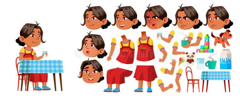 Arabische, Moslim het Jonge geitjevector van de Meisjeskleuterschool De Reeks van de animatieverwezenlijking Gezichtsemoties, Geb royalty-vrije illustratie