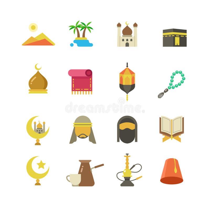 Arabische moslimcultuur vectorpictogrammen Arabisch ramadan de vakantieontwerp van kareemeid mubarak