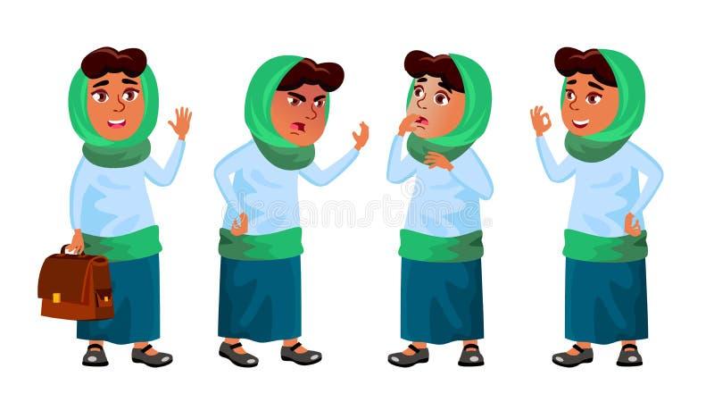 Arabische, Moslimmeisjes Vastgestelde Vector Lage schoolkind Onderwijs Onderwijs, Auditorium, Lezing Voor Kaart, Reclame vector illustratie
