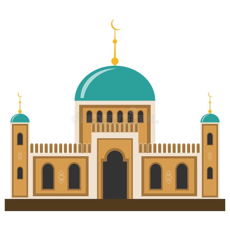 Arabische moslimmoskee en minaret stock illustratie