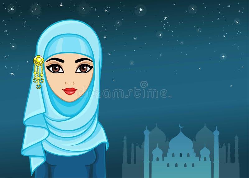 Arabische nacht Animatieportret van het mooie meisje in een hijab stock illustratie