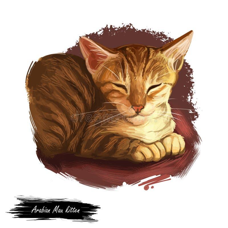 Arabische oder Ägypter Mau-Katze lokalisiert auf weißem Hintergrund Digital-Kunstillustration der Handgezogenen Miezekatze Kurzha vektor abbildung