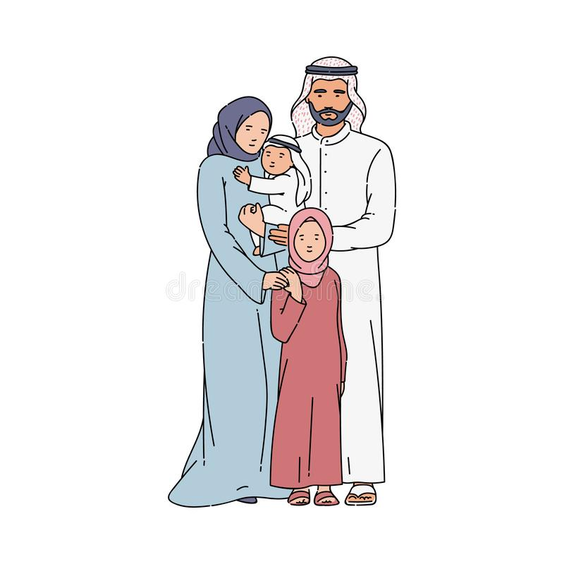 Arabische oder moslemische glückliche Eltern- und Kinderskizzenvektorillustration lokalisierte lizenzfreie abbildung