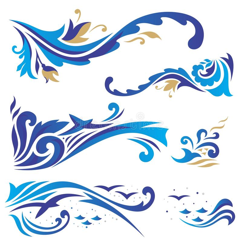 Arabische ornamenten met golven vector illustratie