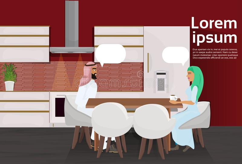 Arabische Paar het Drinken Koffiezitting bij Lijst in Moderne Keukenzaal vector illustratie