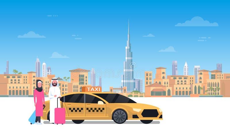 Arabische Paarzitting in Gele Taxiauto over de Stadsachtergrond van Doubai royalty-vrije illustratie