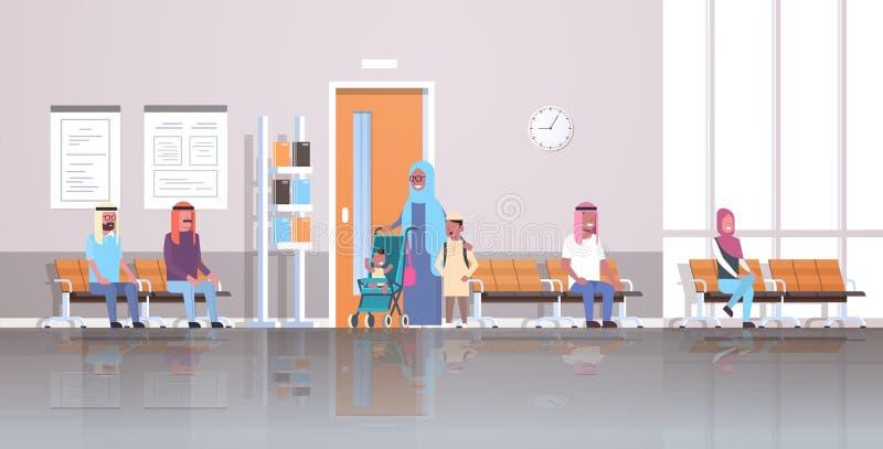 Arabische Patienten, die in Linie Reihe warten, um Klinik des Kabinettberatungs- und -diagnosengesundheitswesenkonzeptes zu behan stock abbildung