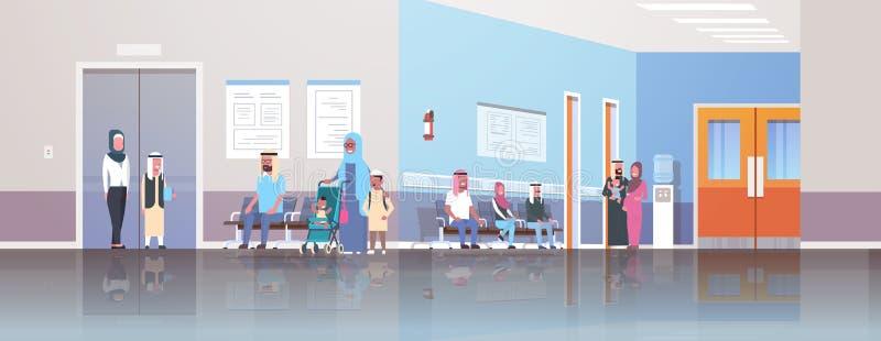 Arabische Patienten, welche die traditionelle Kleidung wartet in Linie Reihe, um Kabinettberatung und -diagnose zu behandeln trag stock abbildung