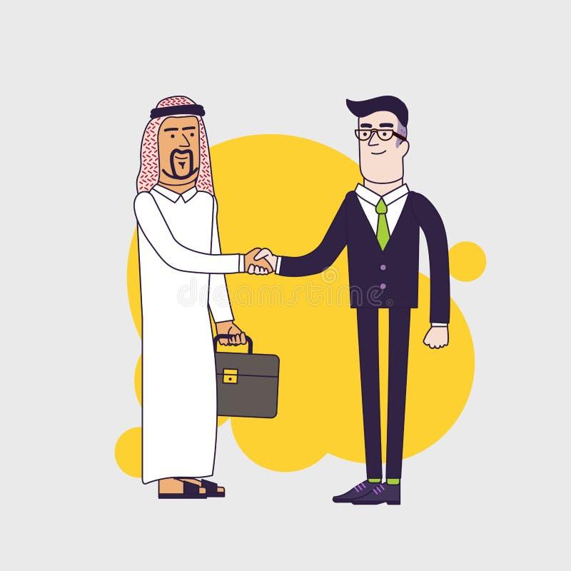 Arabische persoon het schudden handen met een zakenman De illustratie van het bedrijfsconceptenbeeldverhaal Lineair vlak ontwerp royalty-vrije illustratie