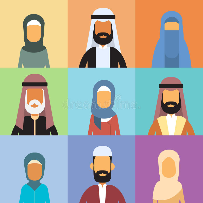 Arabische Profil-Avatara-gesetzte Ikonen-arabische Geschäftsleute, Porträt-moslemisches Wirtschaftler-Sammlungs-Gesicht stock abbildung