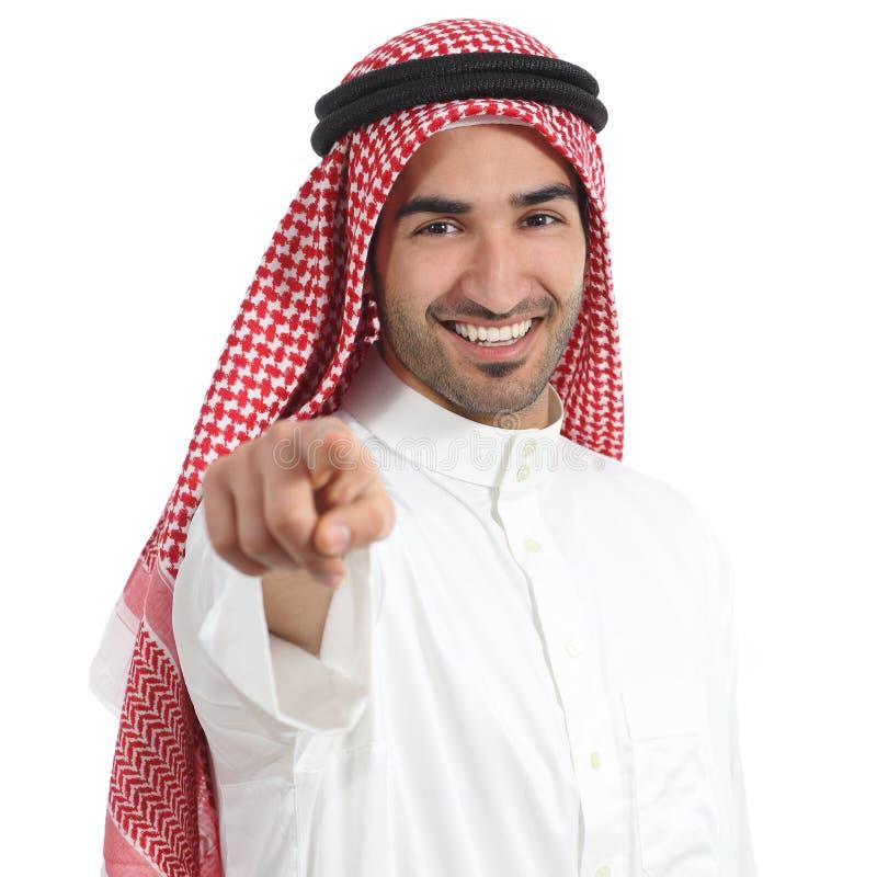 Arabische saudische Emirate bemannen das Zeigen Sie auf Kamera stockbild